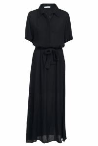 By-Bar | liz crinkle dress | Zwart